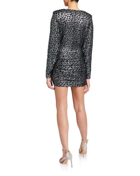 Jovani Metallic Animal-Print V-Neck Long-Sleeve Shirred Dress