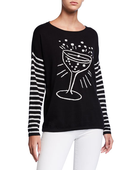 Joan Vass POP THE CORK SWEATER W/ CHAMPAGNE TOAST INTARSIA & STRIPED SLEEVES