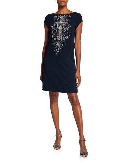 Theia Beaded Front Cap-Sleeve Bateau-Neck A-Line Dress