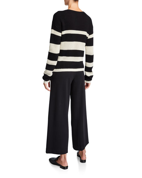 Joan Vass Crewneck Cropped Stripe Sweater