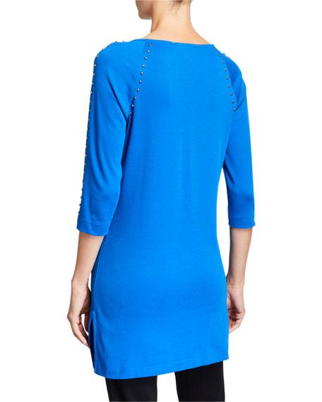 Joan Vass Plus Size 3/4-Sleeve Studded Long Tunic