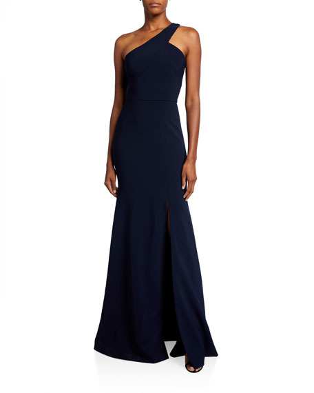 Theia Asymmetric One-Shoulder Gown with Slit