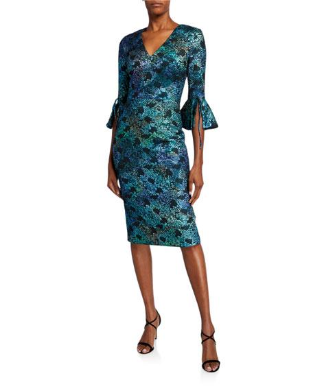 Theia V-Neck 1/2-Sleeve Cloque Dress