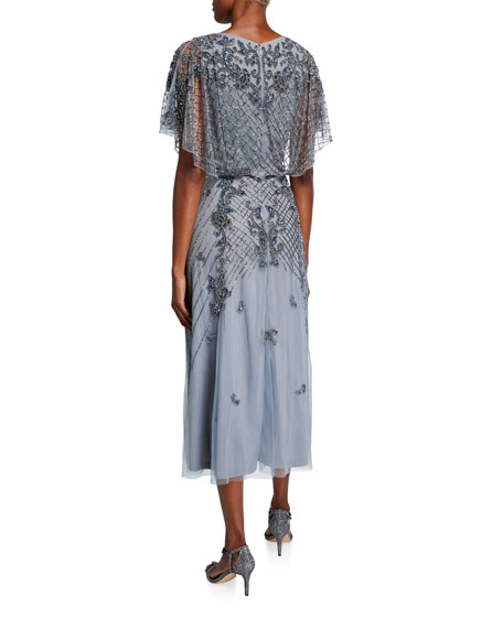 Image 2 of 2: Theia Dolman-Sleeve Handed Beaded Midi Cocktail Dress