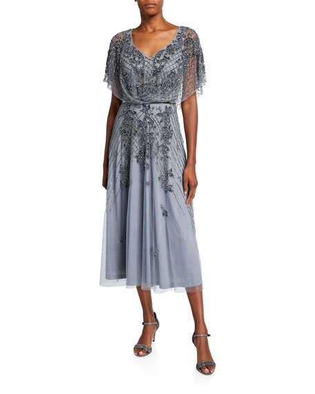 Image 1 of 2: Theia Dolman-Sleeve Handed Beaded Midi Cocktail Dress