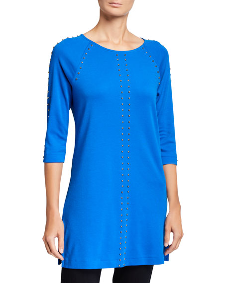 Joan Vass 3/4-Sleeve Studded Long Tunic