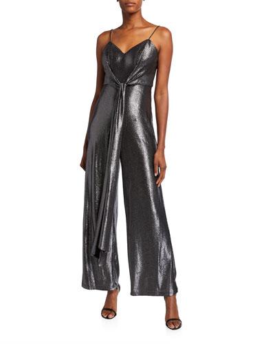 Metallic Foiled Cami Top Tie-Front Sleeveless Jersey Jumpsuit