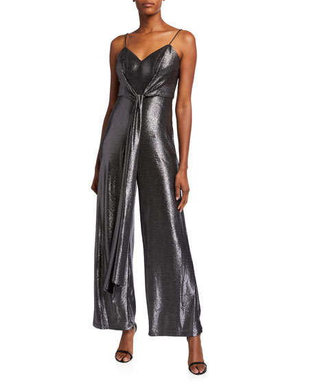 Aidan by Aidan Mattox Metallic Foiled Cami Top Tie-Front Sleeveless Jersey Jumpsuit