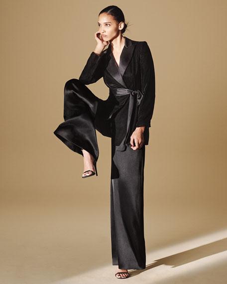 Jill Jill Stuart V-Neck Sleeveless Wide-Leg Charmeuse Jumpsuit