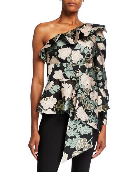 Mestiza New York Micaela Floral Jacquard One-Shoulder Ruffle Top