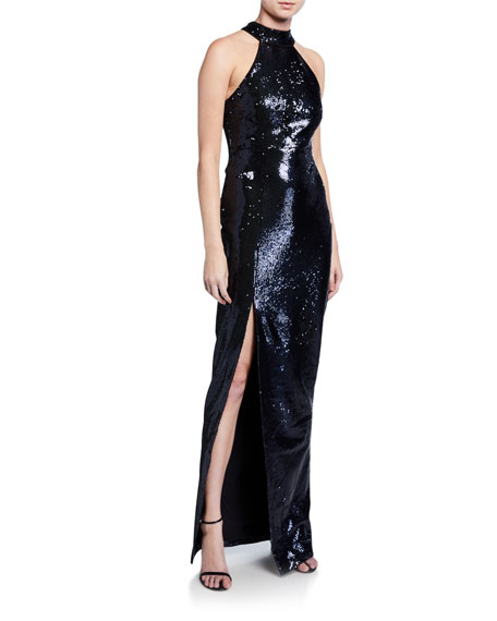 Likely Carrie Sequin Halter Column Gown with Slit