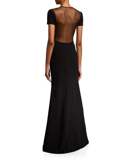 Jill Jill Stuart Sweetheart Mesh Illusion Cap-Sleeve Gown