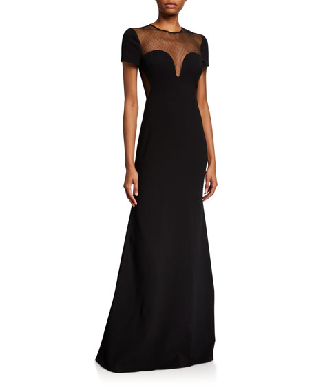 Jill Stuart SWEETHEART MESH ILLUSION CAP-SLEEVE GOWN
