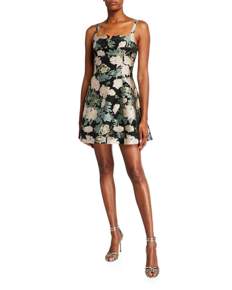 Mestiza New York Celine Metallic Floral Jacquard Sleeveless Mini Dress