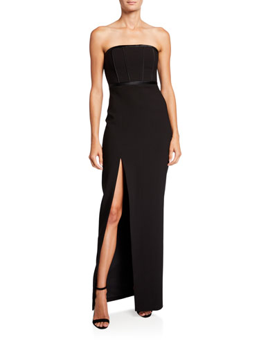 Thoma Satin Piped Bustier Column Gown with Side Slit