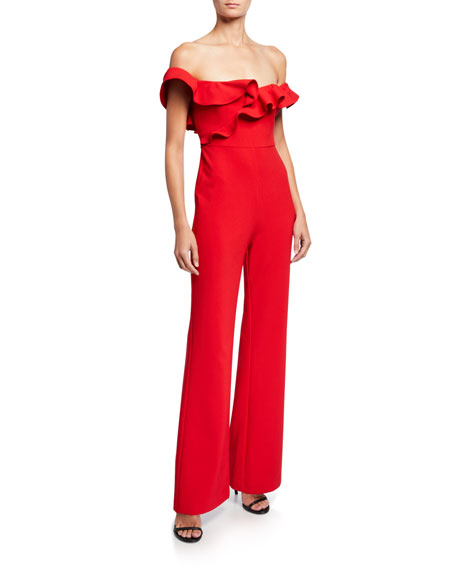 Likely Miller Ruffle-Trim Off-the-Shoulder Jumpsuit