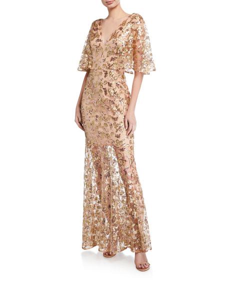 Dress The Population Lourdes Sequin V-Neck Flutter-Sleeve Illusion Gown