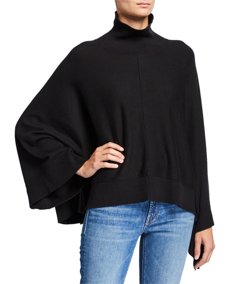 Joan Vass Turtleneck Poncho with Rib Trim