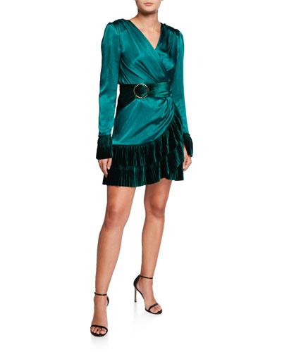 Romi V-Neck Long-Sleeve Mini Satin Dress w/ Velvet Flounce Hem