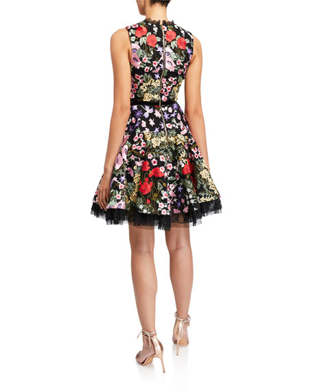 Bronx and Banco Alicia Floral Embroidered V-Neck Sleeveless Dress
