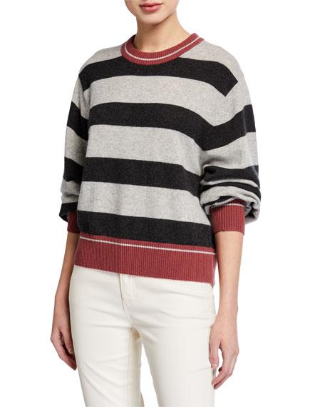 Splendid Cashmere Striped Pullover Sweater