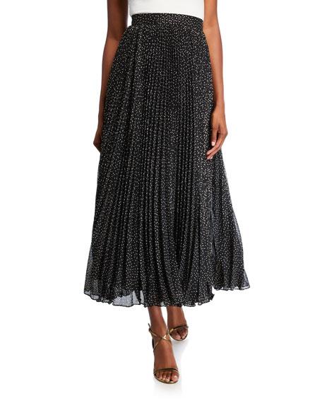 Jill Jill Stuart Foil-Print Pleated Midi Skirt