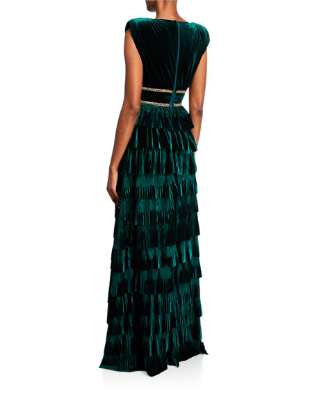 Image 2 of 2: Deep V-Neck Sleeveless Tiered Velvet Gown w/ Waist Trim