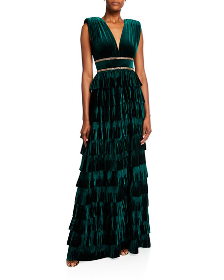 Image 1 of 2: Deep V-Neck Sleeveless Tiered Velvet Gown w/ Waist Trim