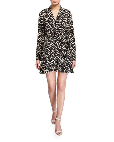 Leopard Long-Sleeve Mini Wrap Dress
