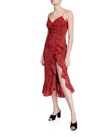 Bardot Lexie Printed Flounce Midi Dress