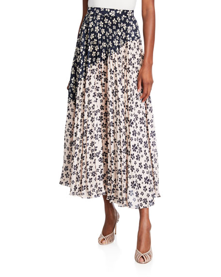Jill Stuart MARIANNE FLORAL-PRINT PLEATED TWO-TONE MIDI SKIRT