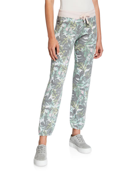 Sundry Palm-Print Basic Sweatpants