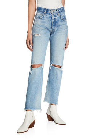 MOUSSY VINTAGE Odessa Wide-Leg Distressed Jeans