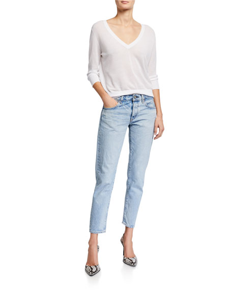 MOUSSY VINTAGE Camilla Tapered Crop Distressed Jeans