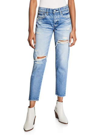 MOUSSY VINTAGE Bowie Tapered Distressed Jeans