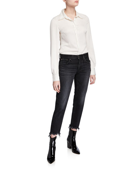 Image 3 of 3: MOUSSY VINTAGE Staley Tapered Ankle Jeans with Shredded Hem
