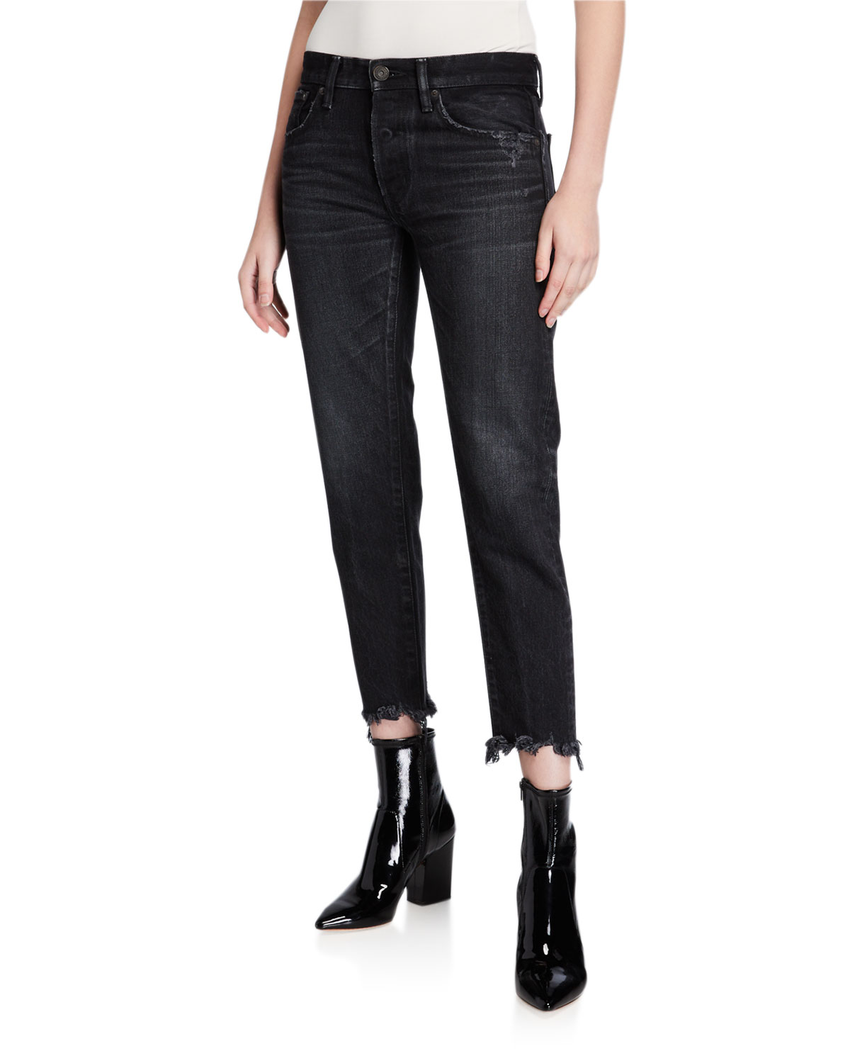 MOUSSY VINTAGE Staley Tapered Ankle Jeans with Shredded Hem