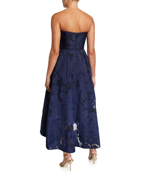 Image 2 of 2: Shoshanna Amberose Strapless High-Low Floral Organza Dress