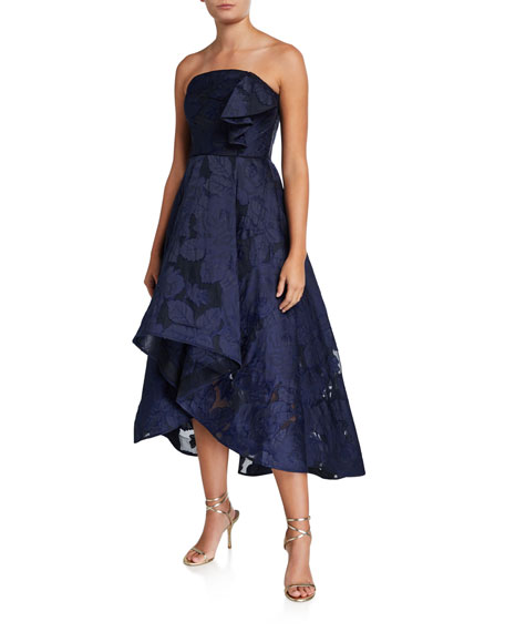 Image 1 of 2: Shoshanna Amberose Strapless High-Low Floral Organza Dress