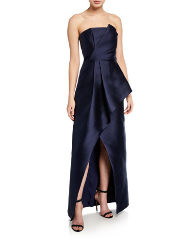 Whitney Strapless Satin Twill Gown with High Slit