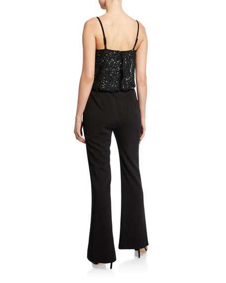 Image 2 of 2: Parker Black Perth Beaded-Bodice Sleeveless Stretch Crepe Flare-Leg Jumpsuit