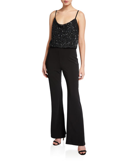 Image 1 of 2: Parker Black Perth Beaded-Bodice Sleeveless Stretch Crepe Flare-Leg Jumpsuit