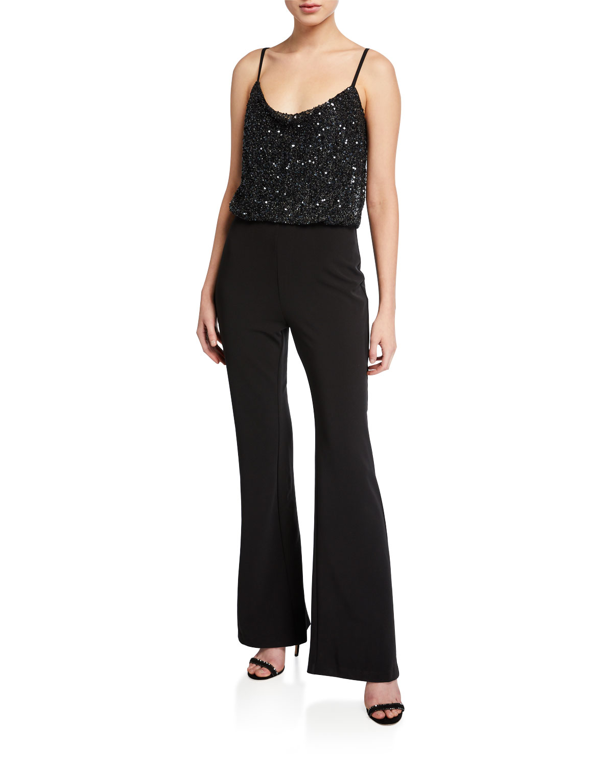 Parker Black Perth Beaded-Bodice Sleeveless Stretch Crepe Flare-Leg Jumpsuit