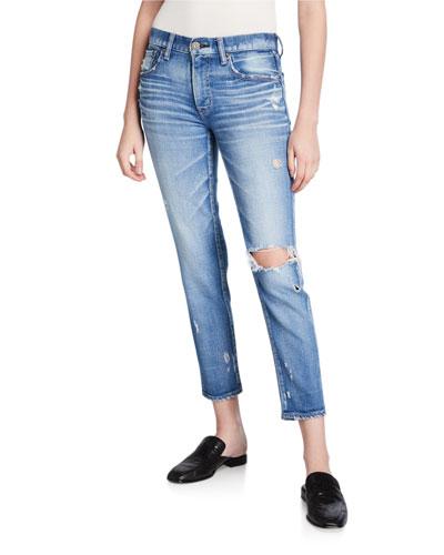 Helendale Distressed Light-Wash Skinny Jeans