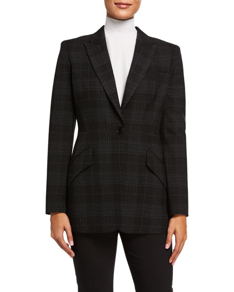Elie Tahari Madison Plaid One-Button Jacket