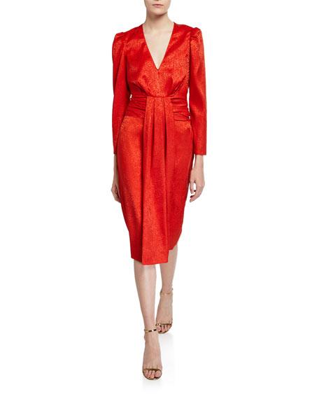 Saylor FARROW V-NECK LONG-SLEEVE DRAPE FRONT JACQUARD DRESS