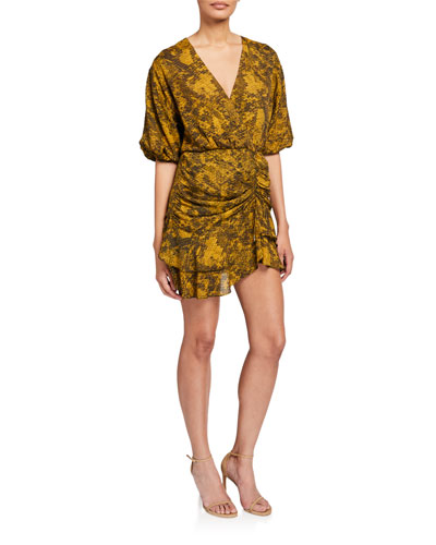 Electra Snake-Print V-Neck Ruched Short Wrap Dress