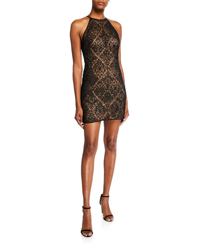 Sleeveless Corded Lace Mini Dress