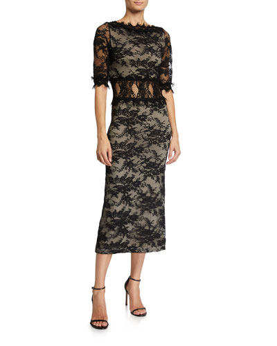 Fiora Mock-Neck Open-Back Sleeveless Lace Cocktail Dress