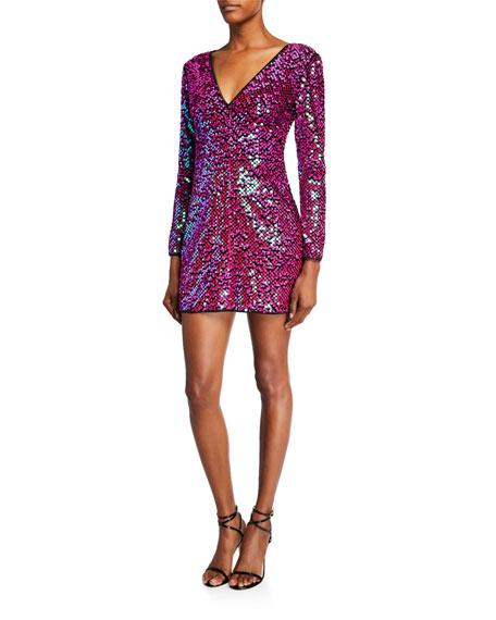 SHO Sequin V-Neck Long-Sleeve Mini Dress